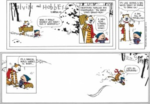 The final Calvin and Hobbes strip, which appeared New Years Eve 1995. Via: GoComics.com