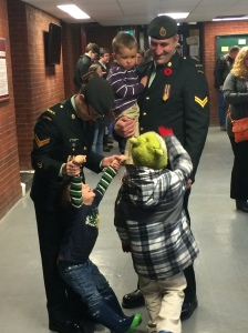 A candid moment of a Canadian military family.